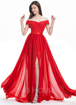 A-Line Off-the-Shoulder Sweep Train Chiffon Evening Dress With Ruffle Split Front (017105882)