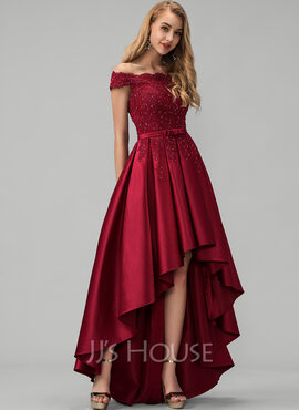 A-Line Off-the-Shoulder Asymmetrical Satin Prom Dresses With Lace Beading Sequins Bow(s) (018220258)