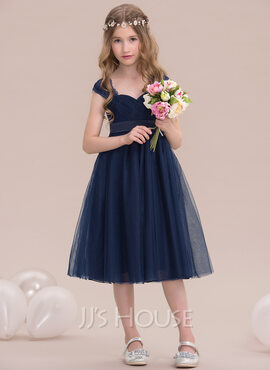 Empire Sweetheart Knee-Length Tulle Junior Bridesmaid Dress With Ruffle (009119584)