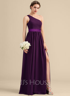 A-Line/Princess One-Shoulder Floor-Length Chiffon Charmeuse Bridesmaid Dress With Ruffle Split Front (007153346)