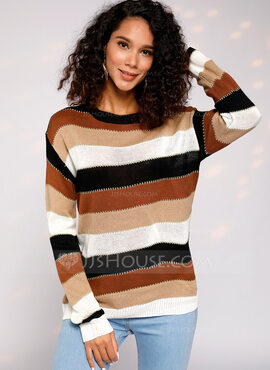 Color Block Kabel Strikk Polyester round Neck Pull over Gensere (1002229606)