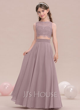 A-Line/Princess Scoop Neck Floor-Length Chiffon Junior Bridesmaid Dress (009119582)