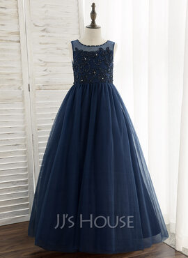 Ball-Gown/Princess Floor-length Flower Girl Dress - Tulle/Lace Sleeveless Scoop Neck With Beading/Sequins (010172379)