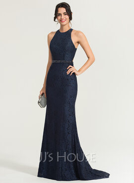 Trumpet/Mermaid Scoop Neck Sweep Train Lace Evening Dress With Beading Sequins (017167707)