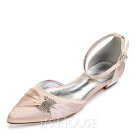 Women's Satin Flat Heel Closed Toe Flats Sandals With Crystal (047174727)