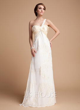 Empire One-Shoulder Floor-Length Chiffon Holiday Dress With Ruffle Lace Beading (020014525)