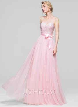 A-Line/Princess Sweetheart Floor-Length Tulle Bridesmaid Dress With Bow(s) (007090169)
