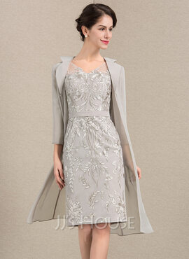 Sheath/Column V-neck Knee-Length Lace Mother of the Bride Dress (008143384)