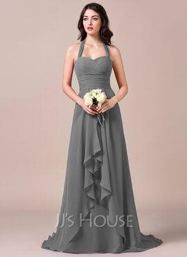 A-Line/Princess Halter Sweep Train Chiffon Bridesmaid Dress With Bow(s) Cascading Ruffles (266176955)