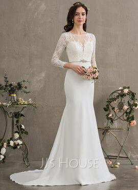 Trumpet/Mermaid Scoop Neck Court Train Stretch Crepe Wedding Dress With Beading Sequins (002186374)