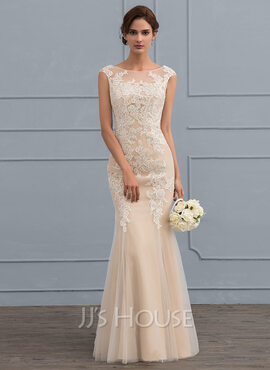 Trumpet/Mermaid Scoop Neck Floor-Length Tulle Lace Wedding Dress (002119797)