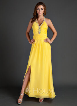 A-Line/Princess Halter Ankle-Length Chiffon Holiday Dress With Ruffle Beading Split Front