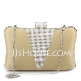 Gorgeous Silk With Rhinestone Clutches (012022640)