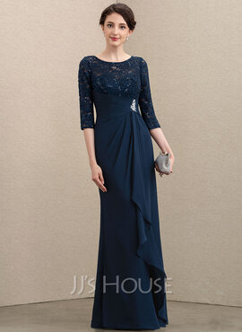 A-Line Scoop Neck Floor-Length Chiffon Lace Mother of the Bride Dress With Beading Sequins Cascading Ruffles (008195376)