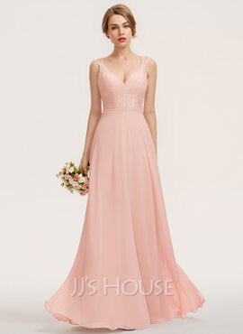 A-Line V-neck Floor-Length Chiffon Lace Prom Dresses (018229936)