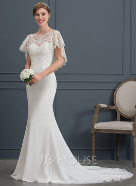 Trumpet/Mermaid Scoop Neck Court Train Chiffon Wedding Dress (002171928)