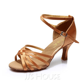 Women's Satin Heels Sandals Latin With Ankle Strap Dance Shoes (053053109)