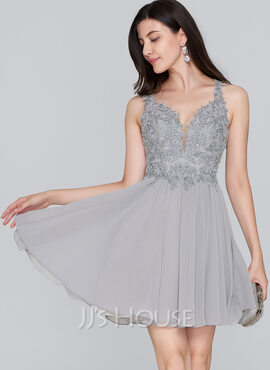 A-Line Sweetheart Short/Mini Chiffon Homecoming Dress With Beading Sequins (022124861)