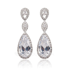 Unique Copper/Cubic Zirconia Ladies' Earrings (011051698)