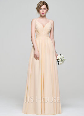 A-Line V-neck Floor-Length Chiffon Bridesmaid Dress With Ruffle (007074165)
