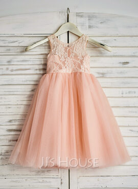 A-Line/Princess Tea-length Flower Girl Dress - Tulle Sleeveless Scoop Neck With Lace (010090286)