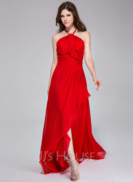 A-Line/Princess Halter Asymmetrical Chiffon Holiday Dress With Cascading Ruffles (020038302)