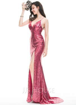 Sheath/Column V-neck Sweep Train Sequined Prom Dresses With Split Front
