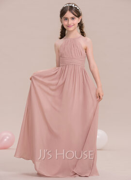 A-Line Scoop Neck Floor-Length Chiffon Junior Bridesmaid Dress With Ruffle (009119578)