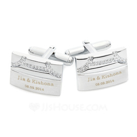 Personalized Rectangular Stainless Steel Cufflinks (Set of 2) (118032853)
