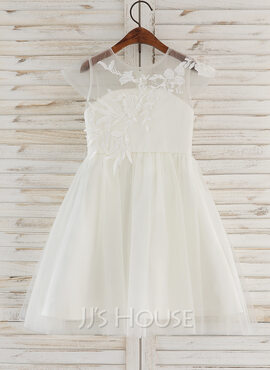 A-Line Knee-length Flower Girl Dress - Tulle/Lace Sleeveless Scoop Neck (010172346)