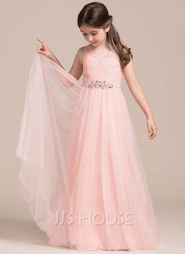 A-Line/Princess Floor-length Flower Girl Dress - Tulle Sleeveless V-neck With Ruffles/Beading/Sequins (010113815)