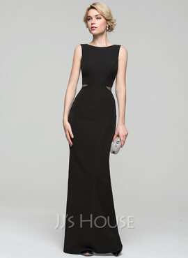 Sheath/Column Scoop Neck Floor-Length Stretch Crepe Evening Dress (017086908)