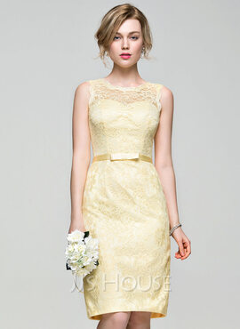 Sheath/Column Scoop Neck Knee-Length Lace Bridesmaid Dress With Bow(s) (266176973)