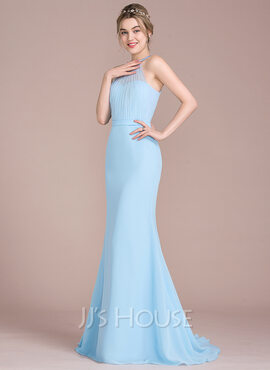 Trumpet/Mermaid Scoop Neck Sweep Train Chiffon Tulle Bridesmaid Dress With Ruffle (266177022)