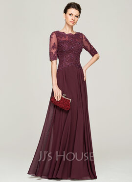 A-Line Scoop Neck Floor-Length Chiffon Lace Mother of the Bride Dress With Beading Sequins (008062570)