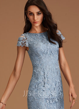 Lace Round Neck Short Sleeves Midi Dresses (293250212)