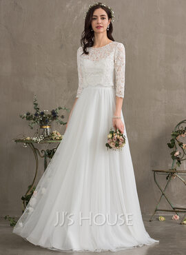 A-Line Sweetheart Floor-Length Tulle Wedding Dress (002187044)