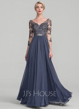 A-Line V-neck Floor-Length Chiffon Lace Evening Dress (017131491)