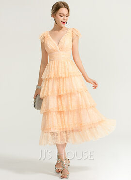 A-Line/Princess V-neck Tea-Length Lace Cocktail Dress (016170838)