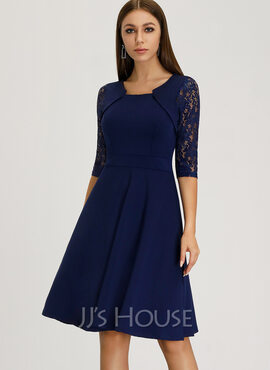 A-Line Square Neckline Knee-Length Polyester Cocktail Dress With Lace (016204884)