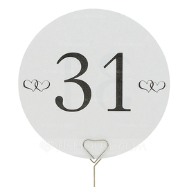 Round Pearl Paper Table Number Cards (Set of 10) (118032275)