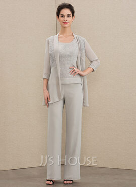 Jumpsuit/Pantsuit Scoop Neck Floor-Length Chiffon Lace Mother of the Bride Dress (008179194)