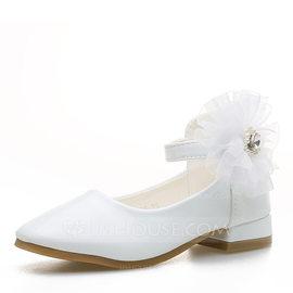 Fille de bout rond Bout fermé Cuir verni talon plat Chaussures plates Chaussures de fille de fleur avec Velcro Une fleur