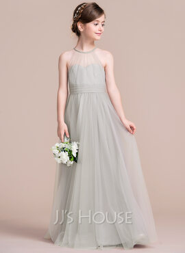 A-Line/Princess Scoop Neck Floor-Length Tulle Junior Bridesmaid Dress With Ruffle (009095091)