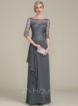 A-Line/Princess Scoop Neck Floor-Length Chiffon Sequined Mother of the Bride Dress With Cascading Ruffles (008102680)