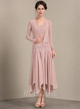 A-Line V-neck Ankle-Length Chiffon Mother of the Bride Dress With Appliques Lace Sequins (008143368)