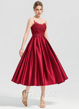 A-Line/Princess Scoop Neck Tea-Length Satin Cocktail Dress With Appliques Lace (016154228)