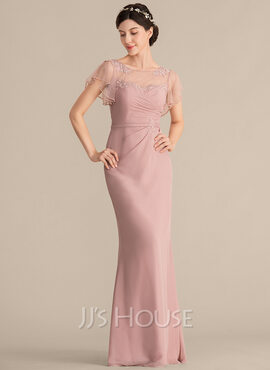 Sheath/Column Scoop Neck Floor-Length Chiffon Bridesmaid Dress With Beading Appliques Lace Sequins (007153322)