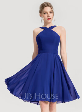 V-Neck Other Colors Chiffon Dresses (293250329)
