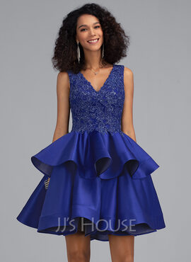 A-Line V-neck Short/Mini Satin Homecoming Dress With Sequins (022203128)